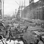 Workmen preparing new slipways for building Olympic and Titanic