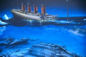 The Titanic Sinks - Before and After.  Titanic by Craig Fraser
