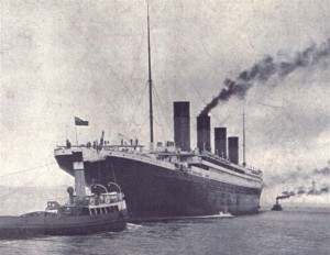 Titanic's starboard quarter, which some people believe shows discolored plating where Olympic was repaired following the Hawke collision.