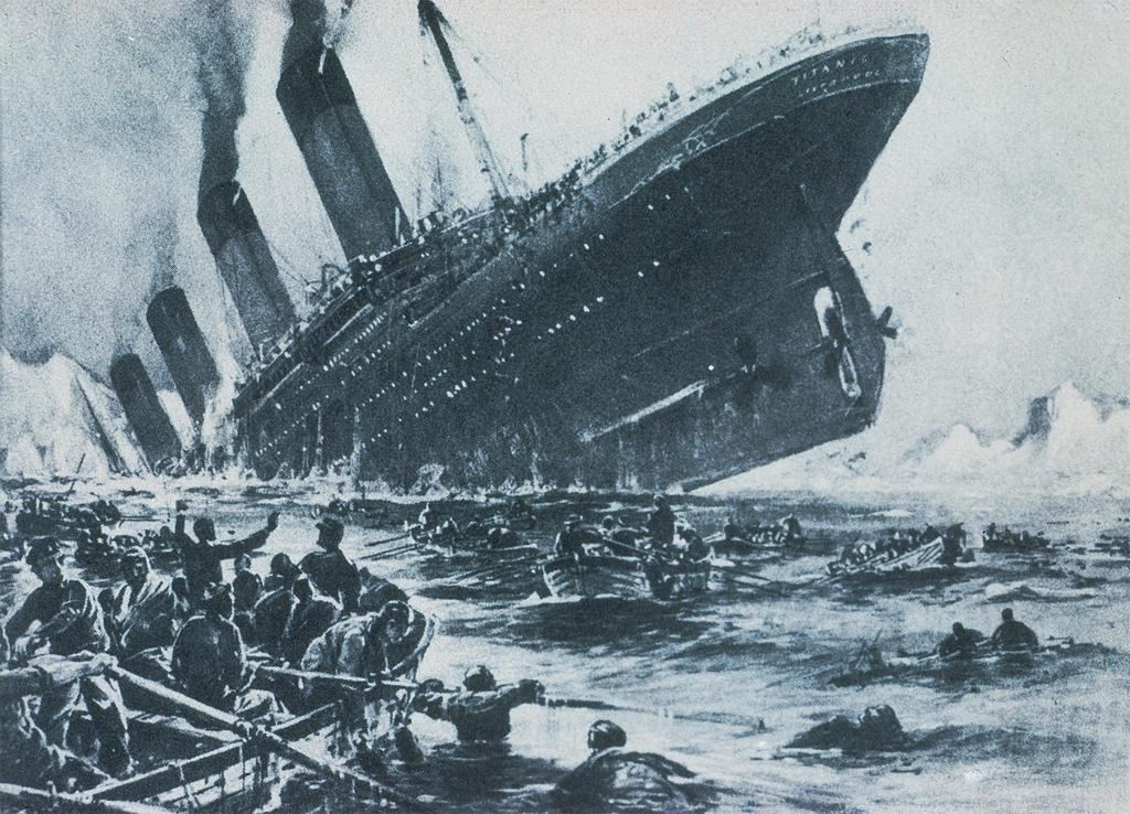 A graphic depiction of the sinking of the Titanic