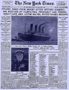 Famous Titanic article from the New York Times