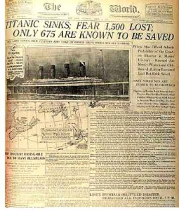 Article about the Titanic wreck printed in The World