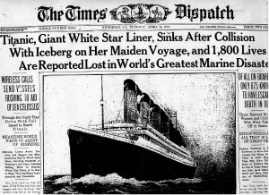 Article about the sinking of the Titanic contained within the Times Dispatch