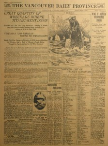 Article of the sinking of the Titanic in the Vancouver Daily Province