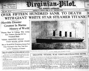Virginian Pilot's coverage of the Titanic sinking