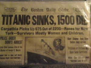 Titanic newspaper article from the Boston Daily Globe