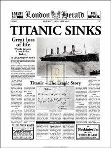 Poster made from a Titanic newspaper article