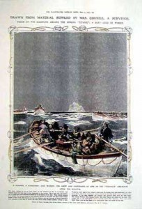 Poster with Titanic lifeboat illustration