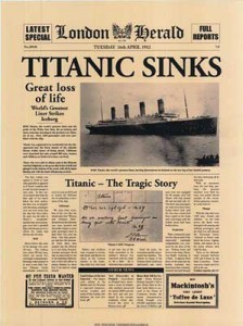 Poster with a newspaper article covering the Titanic wreck