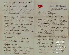 Letter written aboard the Titanic