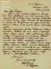 Handwritten letter from Titanic's fifth officer Lowe