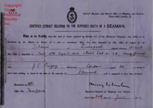 Titanic crewman death certificate