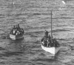Titanic lifeboats reaching the Carpathia