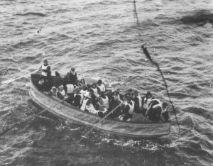 Titanic lifeboat approaching the Carpathia