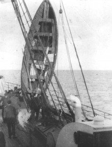 Titanic lifeboat being drained