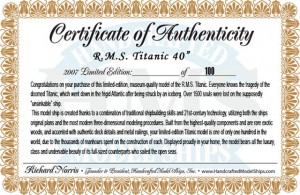 Titanic Model Ship Limited Edition Authentic Certificate 40-1