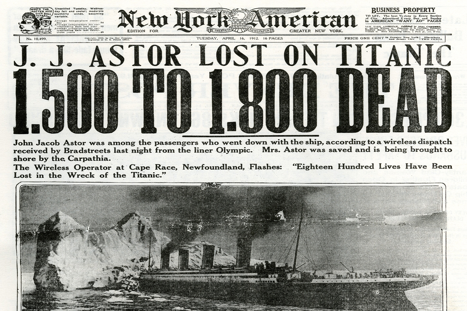 Compilation of 1912 Newspaper Articles Covering RMS Titanic