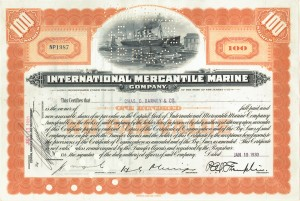 Titanic International Mercantile Marine Company Stock Certificate