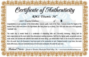 50-inch Remote Control Titanic Model Certification